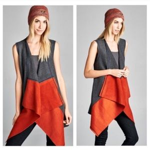 🍁🆕🍁 Solid Colorblock Fleece Accent Vest